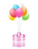 Regalo y globos Imágenes de archivo libres de regalías