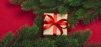 Regalo y ramas del árbol de navidad Fotos de archivo