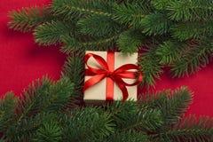 Regalo y ramas del árbol de navidad Fotografía de archivo libre de regalías
