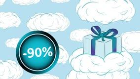 Regalo y venta nublada el 90 por ciento ilustración del vector