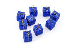 Regalos azules Imágenes de archivo libres de regalías