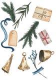 Regalos, campanas, ramas y cinta azul en el fondo blanco ilustración del vector