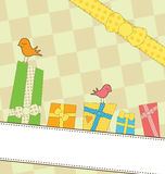 Regalos coloridos dulces en una bandera Fotos de archivo