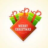 Regalos coloridos para la celebración de la Feliz Navidad Fotos de archivo libres de regalías