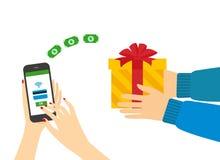 Regalos de compra con su smartphone Imágenes de archivo libres de regalías