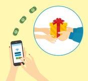 Regalos de compra con su smartphone Fotografía de archivo libre de regalías