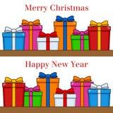 Regalos de la Feliz Navidad y de la Feliz Año Nuevo stock de ilustración