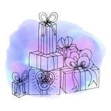 Regalos de la Navidad Regalo de cumpleaños Acuarela abstracta s del fondo Imágenes de archivo libres de regalías