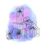 Regalos de la Navidad Regalo de cumpleaños Acuarela abstracta s del fondo Imagen de archivo