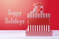 Regalos de la Navidad roja y blanca Imagenes de archivo