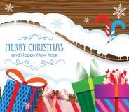 Regalos de la Navidad y bastones de caramelo Fotografía de archivo libre de regalías