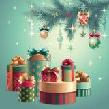 Regalos de las decoraciones de la Navidad ilustración del vector