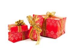 Regalos de lujo rojos de la Navidad imágenes de archivo libres de regalías