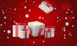 Regalos de Navidad abiertos con la Navidad 3d-illustration del fondo de la nieve stock de ilustración