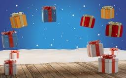 Regalos de Navidad abiertos con la nieve 3d-illustration stock de ilustración