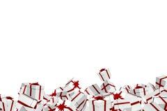 Regalos de Navidad blancos y rojos Imagen de archivo libre de regalías