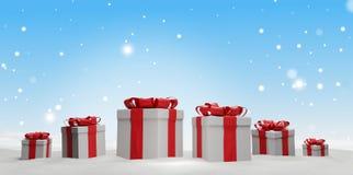 Regalos de Navidad con la cinta 3d-illustration stock de ilustración