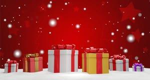 Regalos de Navidad con la cinta 3d-illustration ilustración del vector