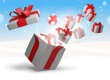 Regalos de Navidad en la nieve 3d-illustration Ilustración del Vector