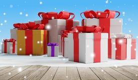 Regalos de Navidad festivos con los copos de nieve 3d-illustration como fondo de la Navidad ilustración del vector