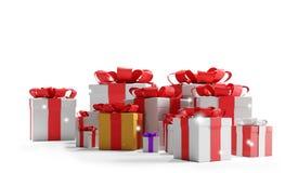 Regalos de Navidad festivos con los copos de nieve 3d-illustration como fondo de la Navidad stock de ilustración