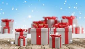 Regalos de Navidad festivos con los copos de nieve 3d-illustration como fondo de la Navidad libre illustration