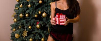 Regalos de Navidad de la explotación agrícola de la mujer foto de archivo libre de regalías