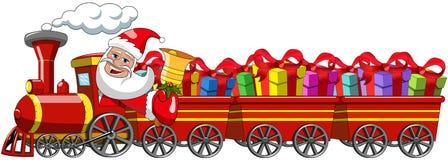 Regalos de Santa Claus Delivering que conducen los carros de la locomotora de vapor libre illustration