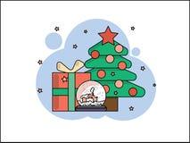 Regalos debajo del árbol en la Navidad y el Año Nuevo Ilustración del vector stock de ilustración