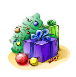 Regalos del Año Nuevo Imágenes de archivo libres de regalías