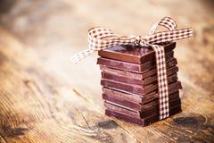 Regalos deliciosos del chocolate, hechos a mano Fotos de archivo