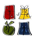 Regalos en cuatro colores fotografía de archivo libre de regalías