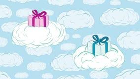 Regalos en nubes y cielo ilustración del vector