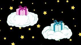 Regalos en nubes y estrellas stock de ilustración