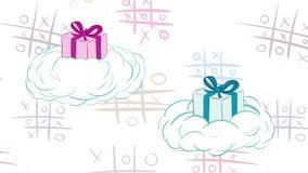 Regalos en nubes y tic-TAC-dedo del pie stock de ilustración