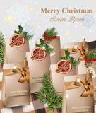 Regalos hechos a mano del papel de Feliz Navidad con vector rojo de las naranjas libre illustration