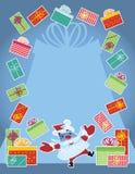 Regalos que hacen juegos malabares de Santa con la frontera Imagen de archivo