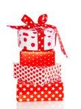 Regalos rojos y blancos Fotografía de archivo libre de regalías