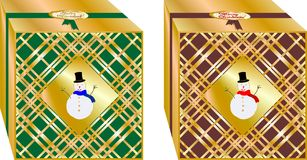 Regalos simples y elegantes de la Navidad verdes y cajas púrpuras, adornadas con varios marionetas de oro de la nieve ` de la Fel libre illustration