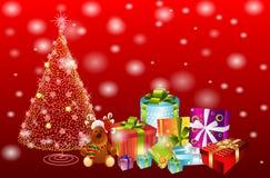 Regalos y árbol de navidad Fotografía de archivo