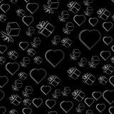 Regalos y corazones en un fondo negro, modelo inconsútil Ilustración stock de ilustración
