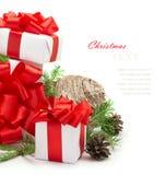 Regalos y decoraciones de la Navidad Imagenes de archivo