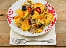 Regan des champignons de couche et des pommes de terre photographie stock
