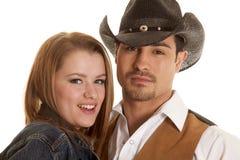 Regard étroit de chapeau de cowboy d'ehads de couples Photographie stock