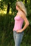 Regard blond loin Photographie stock