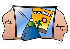 Regard d'homme à une affiche de vacances Photos stock