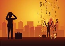 Regard d'homme d'affaires d'échouer au succès un la pluie de symbole dollar signifie des riches illustration libre de droits