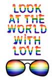 Regard d'inscription au monde avec amour L'amour est concept d'amour avec des lunettes Slogan de défilé gai Fierté de gays et les illustration libre de droits
