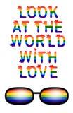 Regard d'inscription au monde avec amour L'amour est concept d'amour avec des lunettes Slogan de défilé gai Fierté de gays et les illustration stock