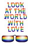 Regard d'inscription au monde avec amour L'amour est concept d'amour avec des lunettes Slogan de défilé gai Fierté de gays et les illustration de vecteur